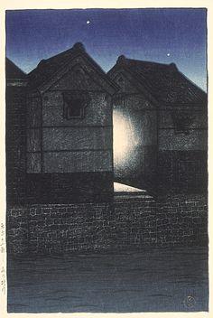 Shinagawa at Night, July, 1919 - Kawase Hasui