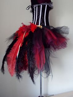 Red Wine Black PEACOCK Burlesque Tutu Skirt Size By Thetutustoreuk