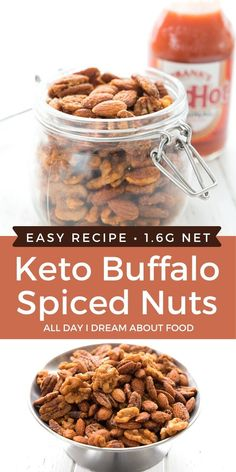 Crunchy keto snacking! These Buffalo Wing Nuts are spicy and delicious, and so easy to make. A tasty addition to your keto snack repertoire.