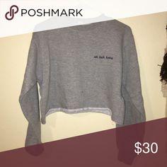 a802736300503  GRAY  Cropped Uh huh honey sweatshirt Uh huh honey Brandy Melville Brandy  Melville Sweaters