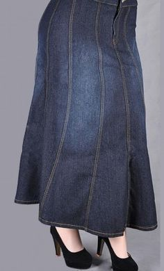 Plus Size Stitched Long Denim Skirt