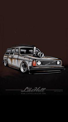 Jdm Wallpaper, Volvo Amazon, Honda Civic Hatchback, Volvo 240, Truck Art, Ae86, Tuner Cars, Car Illustration, Car Posters