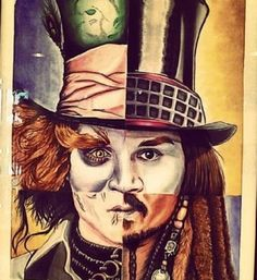 the many faces of johnny depp; as the mad hatter, willy wonka, edward scissorhands and jack sparrow [: