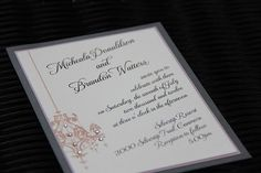 Simple Wedding Invitation with Chandelier and crystals Simple Wedding Invitations, Invites, Wedding Paper, Wedding Day, Special Events, Letter Board, Stationary, Reflection, Chandelier