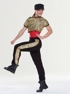 NEW! 2017 Collection Hip Hop Costumes: Matte spandex leotard has separate overshirt of spot-sequin mesh. Separate cotton pants with ribbed knit waistband and matching cuffs have spot sequin mesh stripes down the sides. Includes hat, hanger and garment bag.
