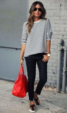 Look: Blusa listrada + jeans