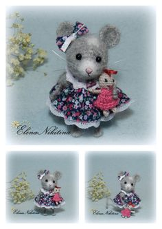 Mouse with a doll crocheted, got the pattern