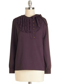 Tell Me in Calligraphy Top in Plum - Mid-length, Woven, Purple, Solid, Buttons, Ruffles, Work, Long Sleeve, Variation