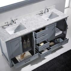 Virtu USA Caroline Avenue 72 Inch Double Bathroom Vanity Cabinet Set In Grey