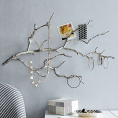 Hang earrings, necklaces and bracelets from the silver branches of this Manzanita Wall Jewelry Branch. Mount it or simply lean against a wall over your dresser or nightstand.