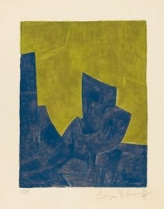 Serge Poliakoff (1900-1969) – Composition bleue et jaune, lithographie (1966)