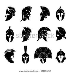 Silhouettes spartan helmet isolated from the background. Vector set of roman or greek warrior helmet. Spartan Helmet Tattoo, Warrior Helmet, Spartan Warrior, Bild Tattoos, Neue Tattoos, Body Art Tattoos, Gladiator Tattoo, Gladiator Helmet, Spartanischer Helm