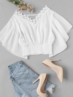 Casual Contrast Lace Plain Pleated Top Regular Fit V Neck Short Sleeve Butterfly Sleeve Pullovers White Crop Length Lace Panel Trim Solid Top Girls Fashion Clothes, Teen Fashion Outfits, Trendy Fashion, Girl Fashion, Fashion Dresses, Trendy Clothing, Fashion Styles, Fashion Women, Fashion Ideas