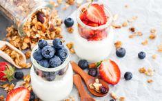 Download wallpapers breakfast, 4k, yoghurt, berries, blueberry, strawberry, healthy food