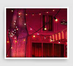 Paris illustration - Au vieux Paris (night version) - Illustration Giclee Art Print Paris by night Prints Posters Home decor Red Orange Art