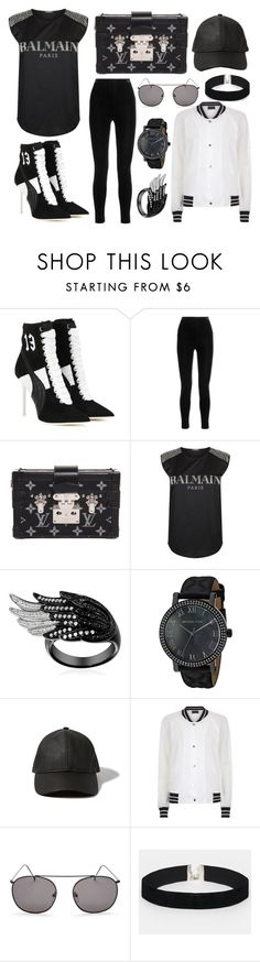 """Black and white style"" by lucya-knight ❤ liked on Polyvore featuring Puma, Balmain, Louis Vuitton, Michael Kors, Abercrombie & Fitch, Antipodium, Illesteva and ASOS"