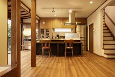 アイランドキッチン-右奥はパントリー(Y邸・若い世代の為の和の住まい)- キッチン事例