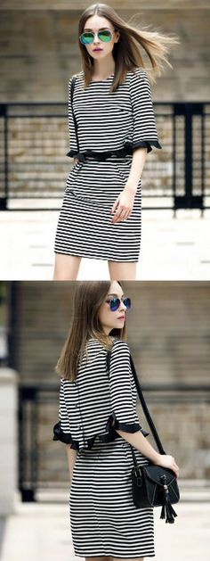 Monochrome Striped Flounce Trims Crop Top And Skirt