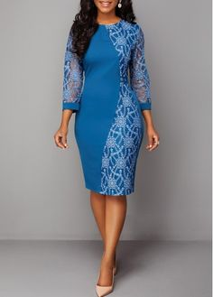 Wedding Guest Dresses Three Quarter Sleeve Lace Patchwork Back Zipper Dress Lace Dress Styles, African Lace Dresses, Latest African Fashion Dresses, Women's Fashion Dresses, Dress Lace, Fashion Clothes, Ladies Day Dresses, Necklines For Dresses, Patchwork Dress