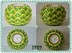 Ivettulka / Svietnik Fabric Balls, Fabric Ribbon, Crafts To Do, Christmas Crafts, Arts And Crafts, Folded Fabric Ornaments, Quilted Christmas Ornaments, Rainbow Ribbon, Candle Craft
