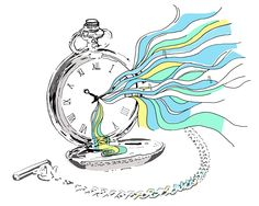 The colliding of time, past memories and future dreams are dancing and swiiming out from this pocket watch. Hand drawn and washed with photoshop. Illustration created by Keala's Studio.