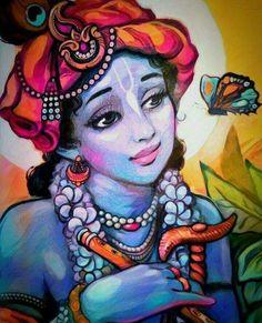 Krishna Hindu, Baby Krishna, Cute Krishna, Radha Krishna Pictures, Lord Krishna Images, Radhe Krishna, Shiva, Krishna Drawing, Krishna Painting