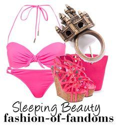 """Sleeping Beauty"" by fofandoms ❤ liked on Polyvore featuring Kelly & Katie, Lipsy, disney, swimwear, sleeping beauty, disney fashion, aurora and briar rose"