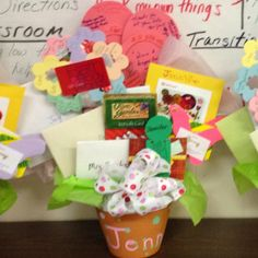 Secretary Appreciation! Made 4 gift card bouquets for our schools secretaries! Each grade level contributed a gift card to each bouquet. The 4 ladies LOVED them!!! Hand painted pots and ribbon around top.