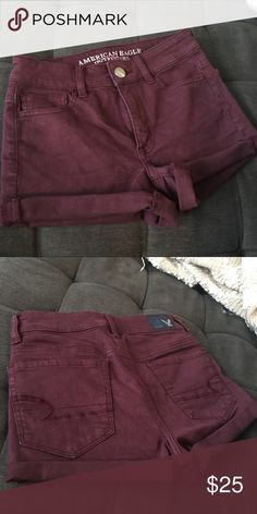203981e067c3 American Eagle Super Super Stretch Hi-Rise Shortie Good condition!  Beautiful burgundy. Size 0. Rolled cuffs. American Eagle Outfitters Shorts  Jean Shorts