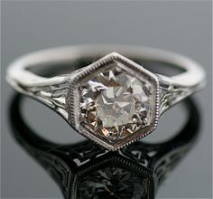 Antique Diamond Ring  18k White Gold and Diamond by SITFineJewelry, $13750.00