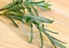 A closeup of fresh rosemary on a wooden board