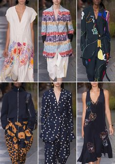 Paul Smith showed sophisticated style in this SS17 collection at London Fashion Week. Patternbank loved his use of bold abstract flowers and a sweet daisy that looked like a polka dot from afar. Another highlight was the sophisticated linear florals with unusual colour combinations inspired by Gustav Klimt.