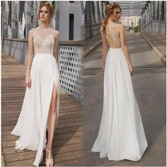 Long Prom Dress,2016 Prom Dress,Lace Prom Dress,High Neck Prom Dress,Sleeveless Prom Dress,Chiffon Prom Dress,Slit Prom Dress