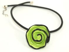 Pearly Green Spiral Pendant Necklace - Lampwork Jewelry - Glass Bead Jewelry  This necklace includes 1 spiral bead, very unique design, you just need to choose the color   The bead diameter size is between 20mm .  All of the lampwork beads are annealed in kiln  The black 4mm leather chain length is 40cm.  This necklace makes a bold statement that will upgrade each performance.  All of my jewelry comes with a gift box.  $19