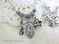 St. Cecilia & Choose 2 Charms Medal Necklace  by CatholicInspired