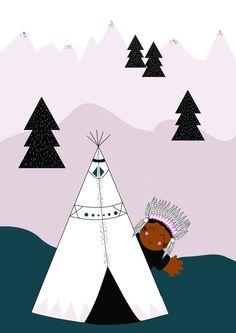Affiche A4 / Illustration enfant Indien par LAMECANIQUEDUBONHEUR