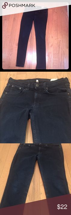 """Rag & Bone Black Skinny Jeans Skinny black rag & bone stretch denim. Pre-loved with some fading and signs of wear. Fading along seams around waistband, pockets, etc as well as some slight fading on both front and back of knee (back of knee has slight whiskered fading) and hem. See photos. Inside size tag has frayed slightly. See photos for condition. Priced accordingly. Size 27. Approx 29.5-30"""" inseam. 10"""" leg opening. These are quite stretchy and fit snug. They are a heavier weight denim skinny not a legging type material rag & bone Jeans Skinny"""