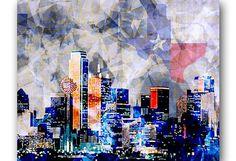 Dallas Art Dallas Skyline Texas Art Dallas von PoolPartyPopArt