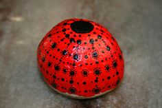 Hand Painted Stone Red Black Stone The by HickoryDickoryDots