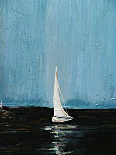 ORIGINAL Abstract Textured Sail Boat Painting by AshleyBridgerArt, $130.00