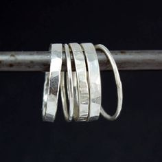 Hammered Silver Stacking Rings Set of 5  FREE shipping by gbaneyx, $48.00