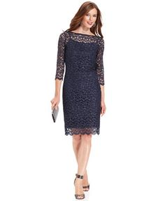Marina Dress, Three-Quarter-Sleeve Glitter Lace Sheath