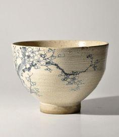 """nok0706: """" Antique Japanese kutani blue & white teabowl. """""""