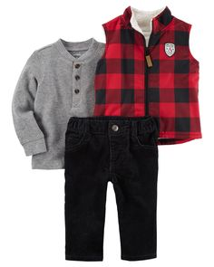 This 3-piece set is perfect for chilly outings this season. With a thermal henley and cute penguin label, he will be cute and cozy all season long!