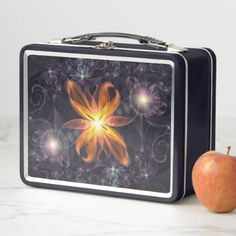 Beautiful Orange Star Lily Fractal Flower at Night Metal Lunch Box - halloween decor diy cyo personalize unique party