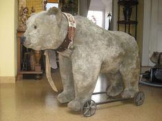 uralter großer Steiff Räderbär mit altem Knopf. 80cm lang !!!    eBay
