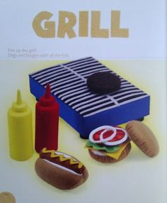 Felt grill, with sausages, burgers and buns.  Absolutely fantastic!