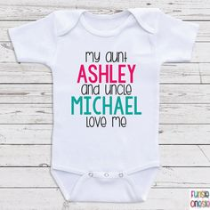 Personalized Baby Clothes Onesie - My Aunt (Name) And Uncle (Name) Love Me - Custom Baby Clothes for Boys or Girls . Perfect For Baby Shower