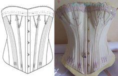 Ref :m patron relevé sur corset ancien à goussets - patron couture - Atelier Sylphe Corsets - Fait Maison