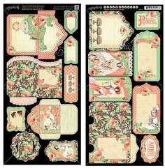 Graphic45 Die-Cuts TIME TO CELEBRATE TAGS & POCKETS scrapbooking Vintage PARTY